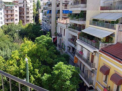 Exarchia square view from hotel room